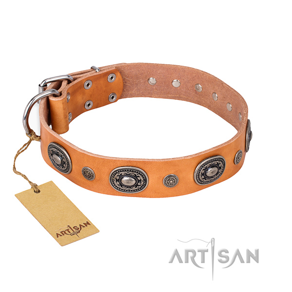Quality full grain genuine leather collar handmade for your pet