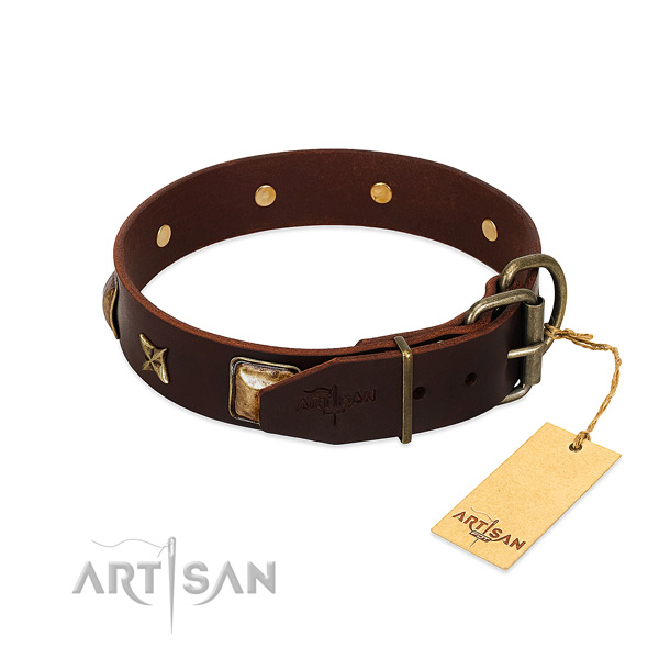 Full grain leather dog collar with durable hardware and decorations
