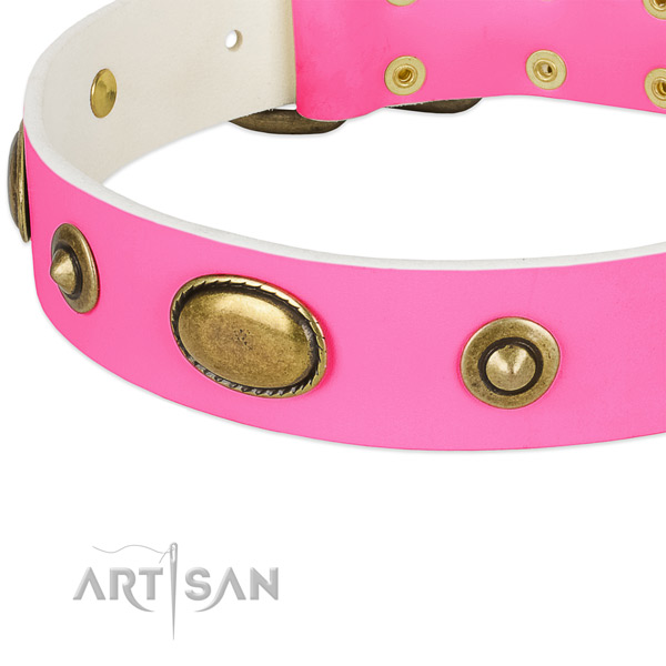Corrosion resistant buckle on full grain natural leather dog collar for your canine