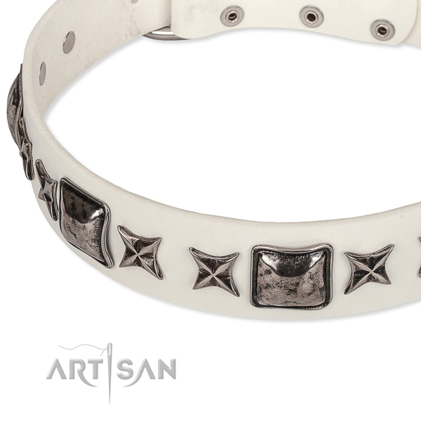 Handy use adorned dog collar of strong full grain genuine leather