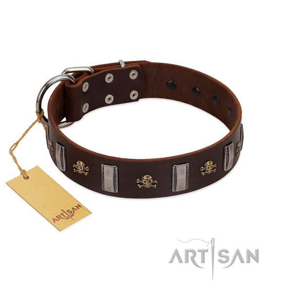 Genuine leather dog collar with inimitable embellishments for your four-legged friend
