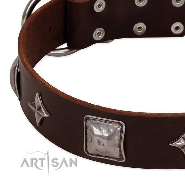Best quality full grain natural leather dog collar with reliable buckle