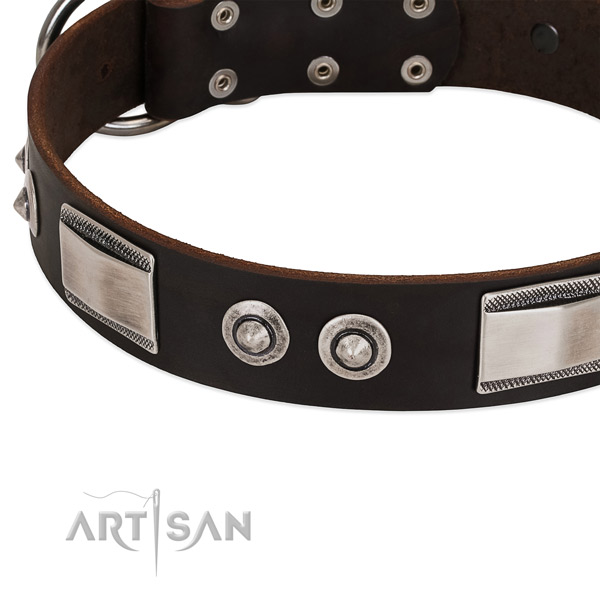 Exquisite full grain natural leather collar for your canine