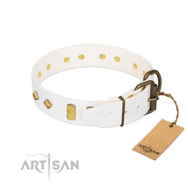 Flexible full grain natural leather dog collar with durable D-ring
