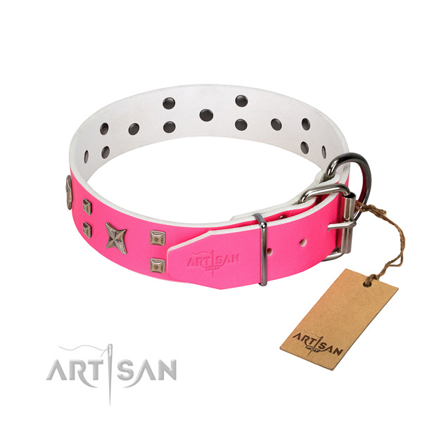 Gentle to touch full grain leather dog collar for your lovely canine
