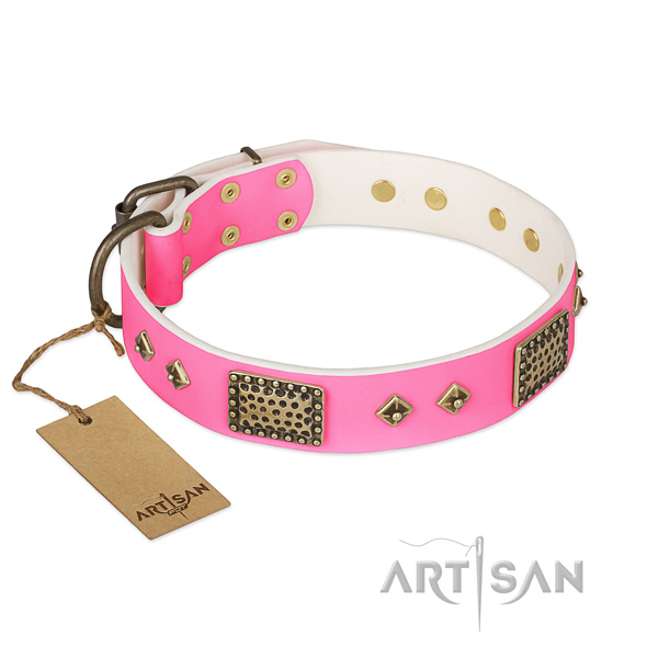 Easy to adjust full grain genuine leather dog collar for everyday walking your pet