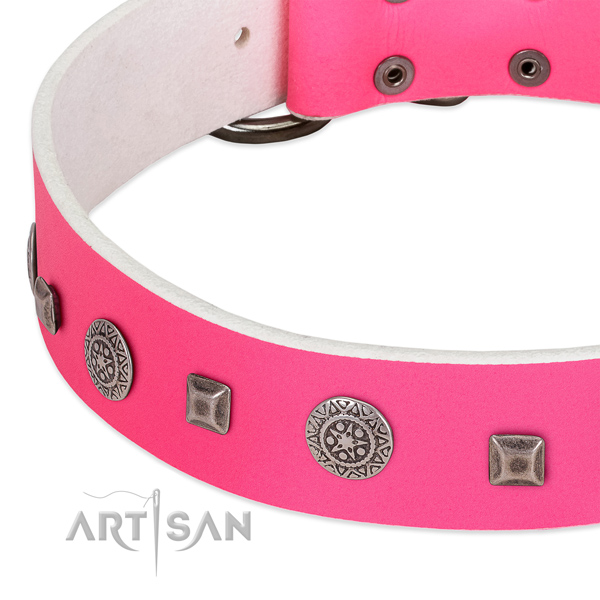 Quality genuine leather dog collar with fashionable decorations