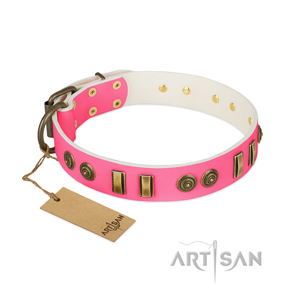 Exquisite full grain genuine leather collar for your canine