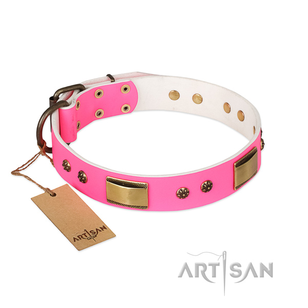 Unique full grain genuine leather collar for your canine