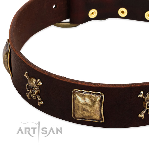 Gentle to touch full grain leather dog collar with amazing decorations