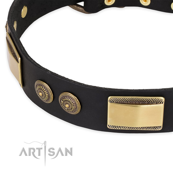 Best quality genuine leather collar for your handsome pet