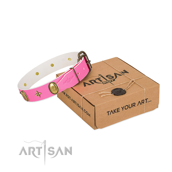 Best quality full grain genuine leather dog collar with stylish design embellishments