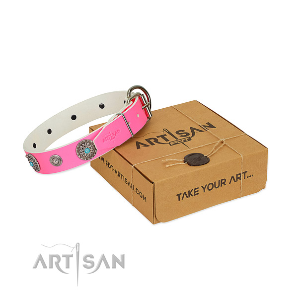 Comfortable wearing top rate full grain natural leather dog collar with adornments