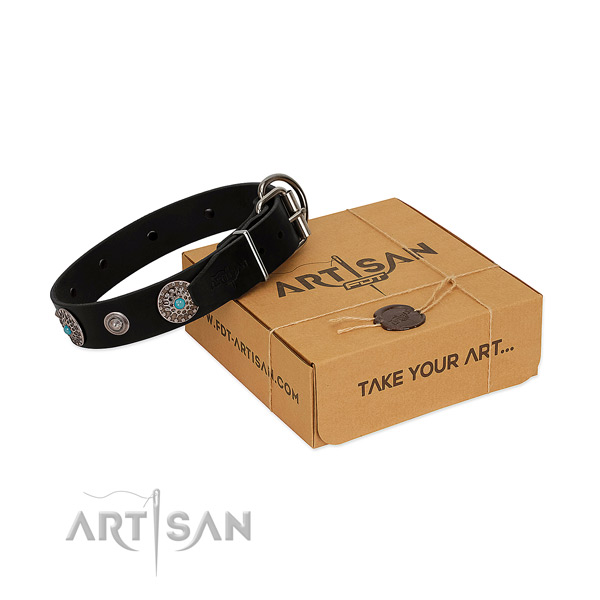 Handy use reliable leather dog collar with embellishments