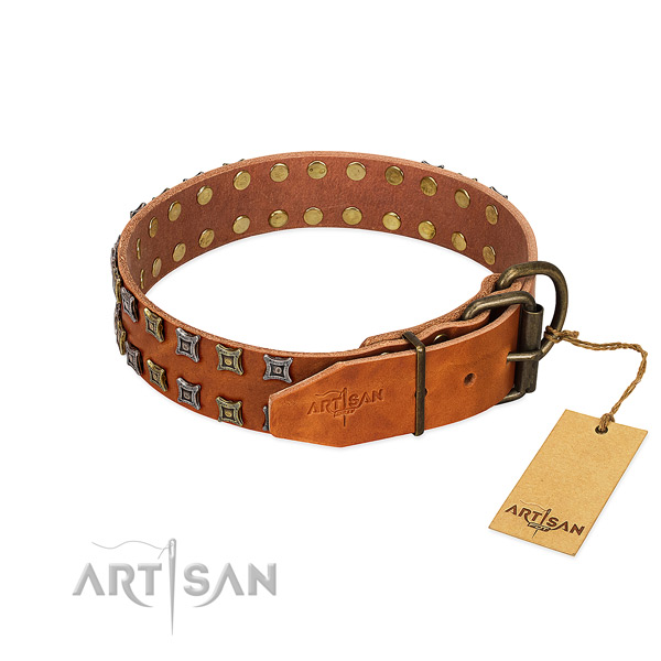 High quality full grain natural leather dog collar handmade for your canine
