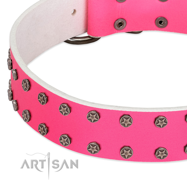High quality full grain natural leather dog collar with decorations for your four-legged friend