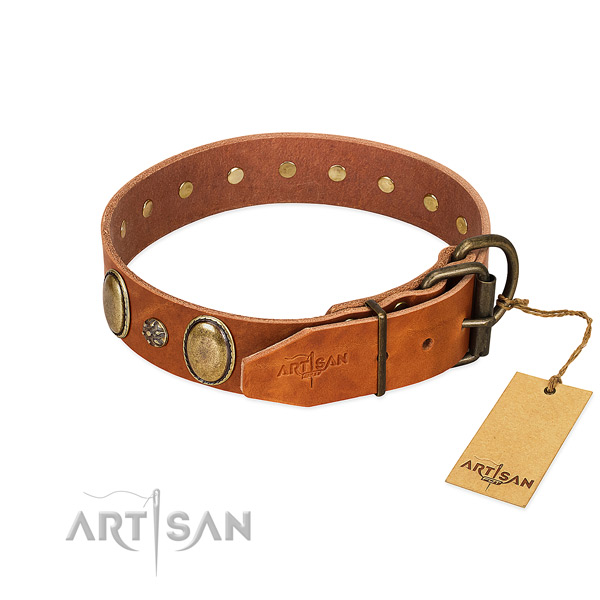 Walking flexible full grain leather dog collar