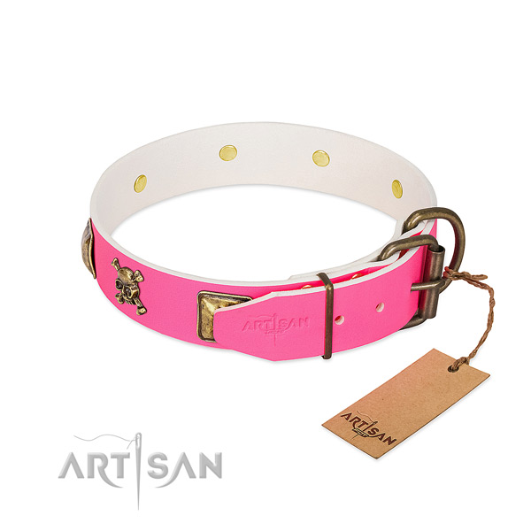 Full grain natural leather dog collar with corrosion proof fittings for daily use