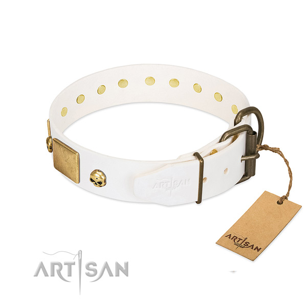 Best quality full grain natural leather collar made for your doggie