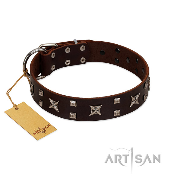 Soft to touch full grain leather dog collar with studs for comfy wearing