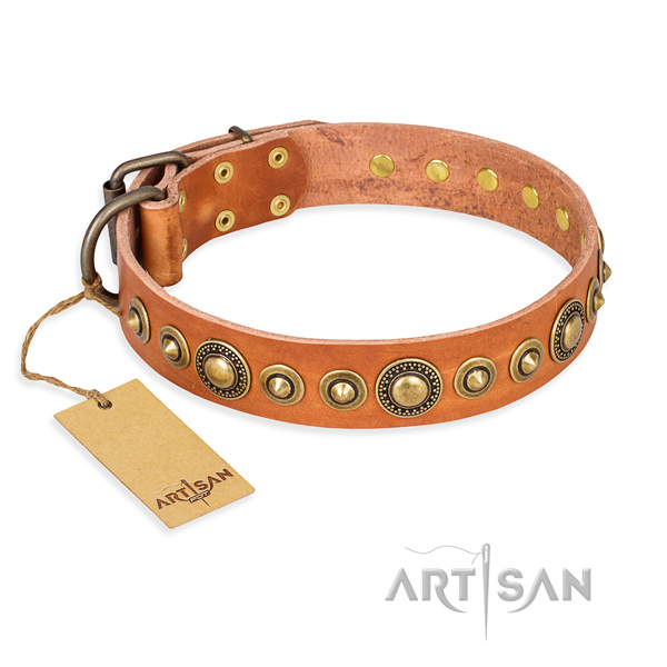 Top rate genuine leather collar created for your pet