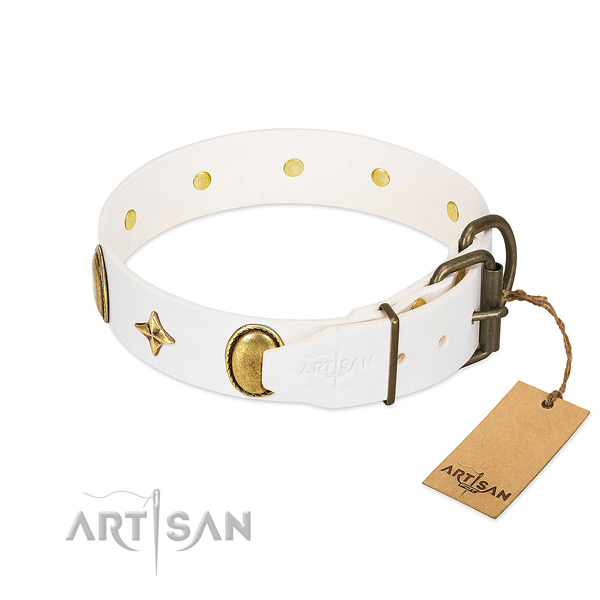 Soft to touch full grain genuine leather dog collar with inimitable studs