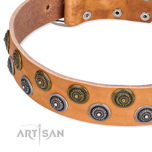 Handy use decorated dog collar of best quality natural leather