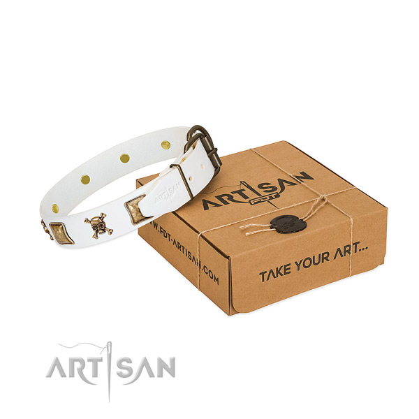 Daily use soft genuine leather dog collar with studs