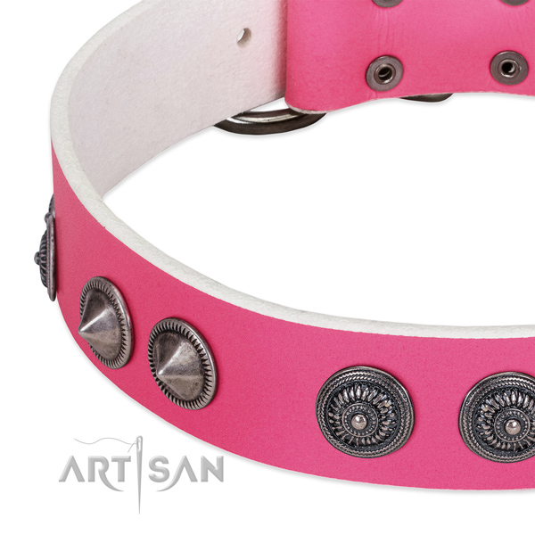 Handcrafted natural leather collar with adornments for your pet