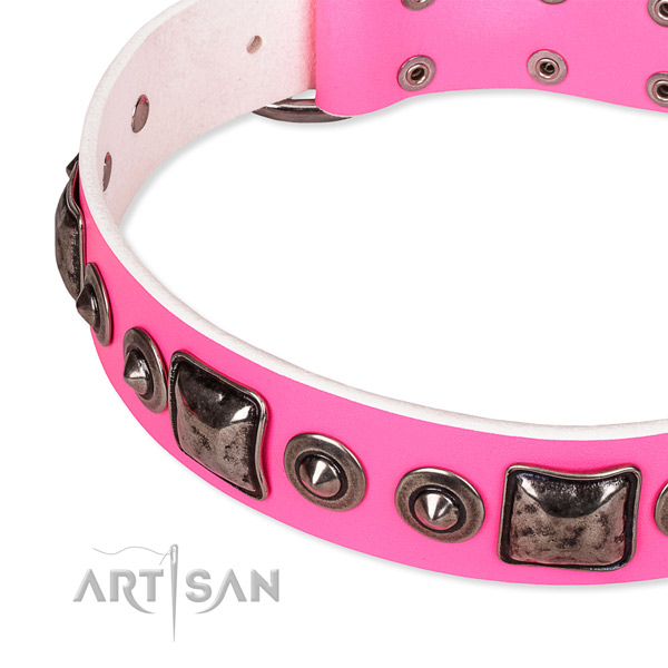Gentle to touch natural genuine leather dog collar crafted for your beautiful canine