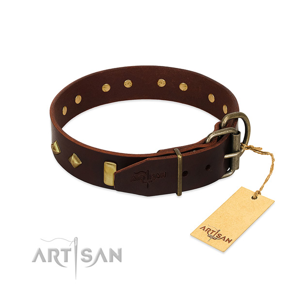 Full grain natural leather dog collar with reliable hardware for comfy wearing
