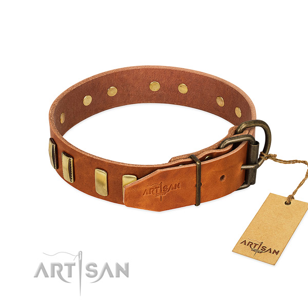 Soft to touch leather dog collar with corrosion proof buckle