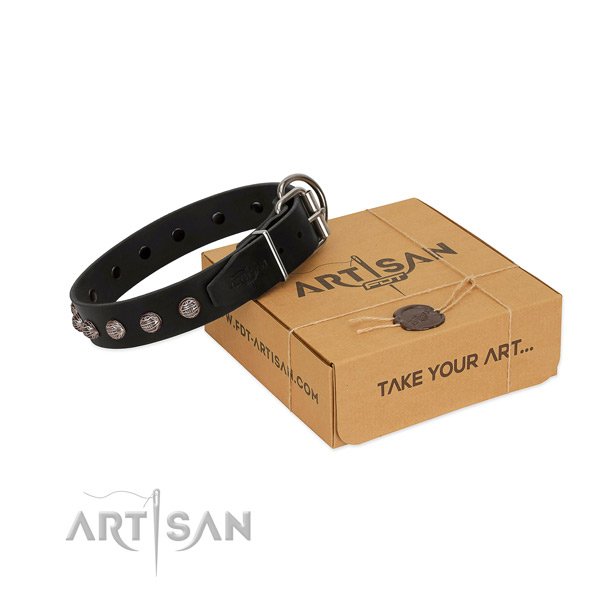 Comfortable wearing high quality full grain genuine leather dog collar with embellishments