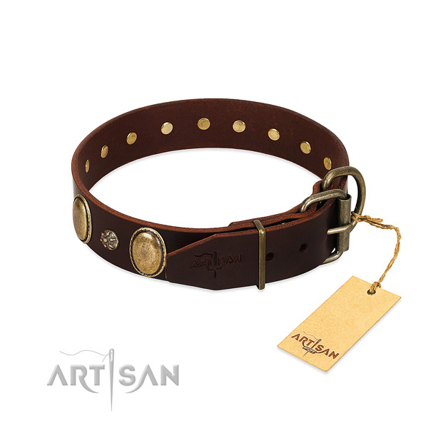 Comfortable wearing high quality genuine leather dog collar