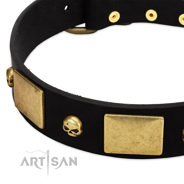 Amazing full grain natural leather collar for your stylish doggie