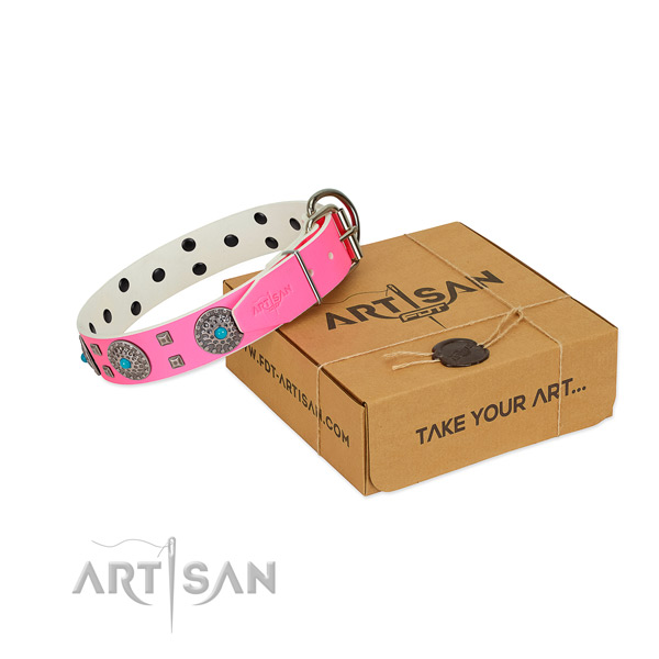 Gentle to touch full grain natural leather dog collar with adornments for your stylish four-legged friend