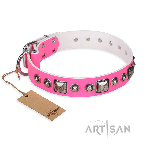 Genuine leather dog collar made of quality material with reliable hardware