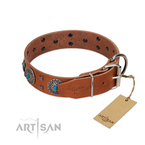 Soft natural leather dog collar with embellishments for daily use