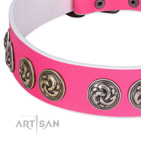 Trendy full grain leather collar for your doggie walking