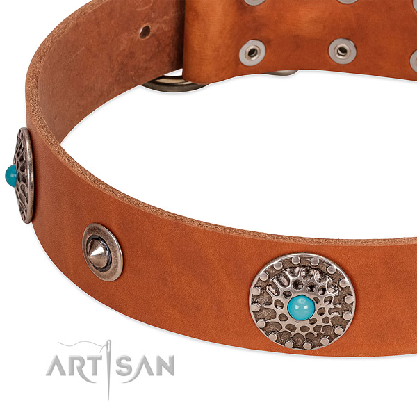 Walking gentle to touch full grain natural leather dog collar with decorations