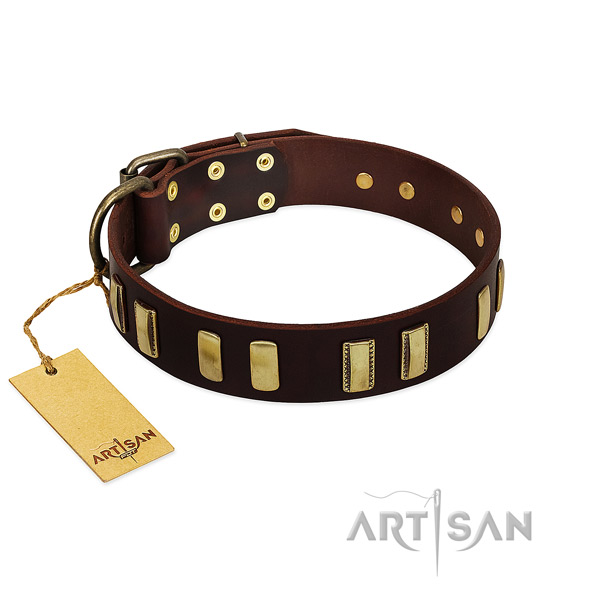 Flexible full grain leather dog collar with rust-proof fittings