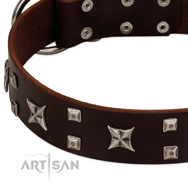 Best quality full grain natural leather dog collar with decorations for comfortable wearing