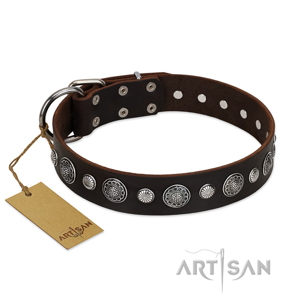 Durable genuine leather dog collar with stylish design adornments