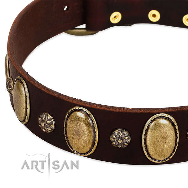 Easy wearing gentle to touch natural genuine leather dog collar