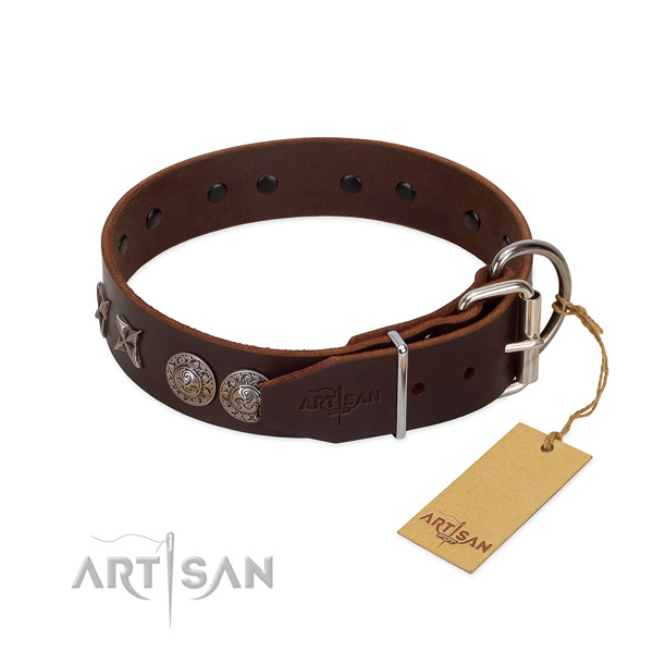 Handy use dog collar of leather with incredible decorations