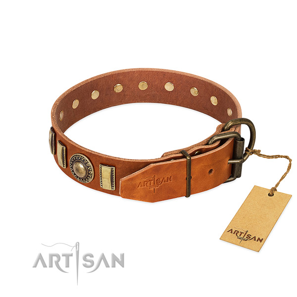Inimitable full grain natural leather dog collar with durable buckle