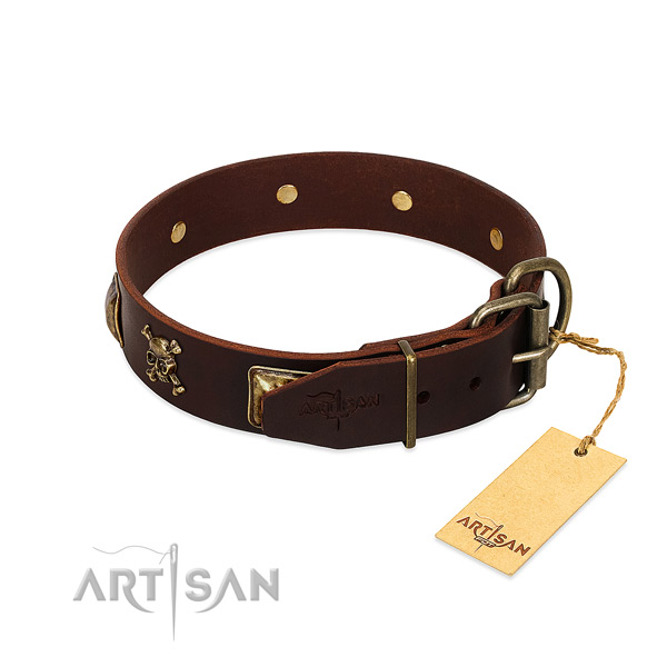 Gentle to touch genuine leather dog collar with fashionable studs