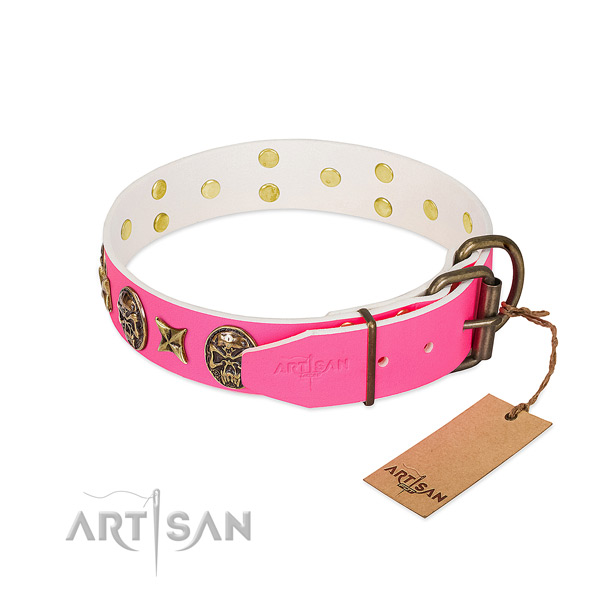 Corrosion resistant fittings on full grain leather collar for walking your four-legged friend