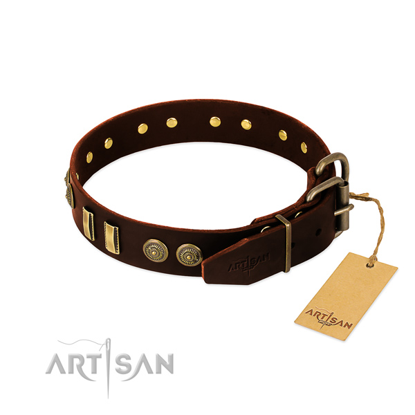 Corrosion proof buckle on genuine leather dog collar for your canine