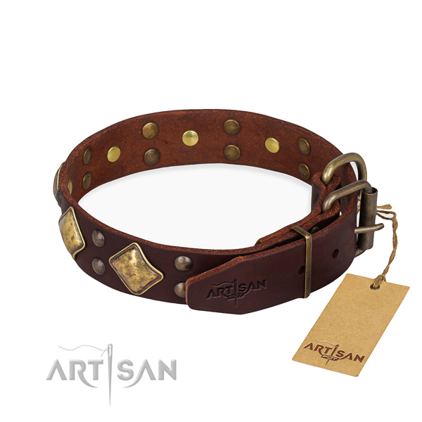 Genuine leather dog collar with inimitable strong studs